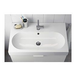 "IKEA - BRÅVIKEN, Sink, 1 bowl, 31 1/2x19 1/4x3 7/8 "", , 10-year Limited Warranty. Read about the terms in the Limited Warranty brochure.The included water trap is easy to connect to the drain, washing machine and dryer because it is flexible.Unique water trap design gives room for a full sized drawer."