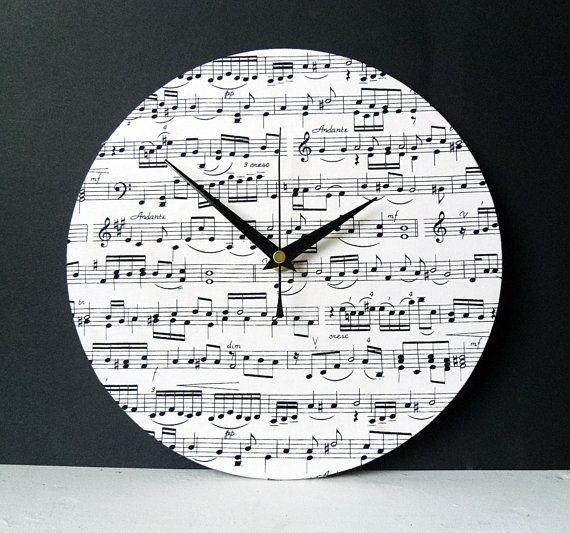 Fabric Wall Clock Decoupage Music Sheet Fabric Round Clock