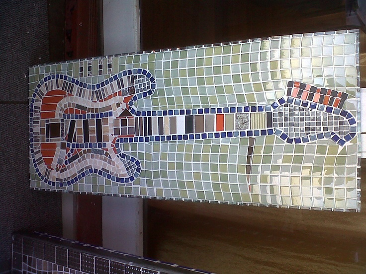 Customised Guitar Coffee table with glass mosaics.