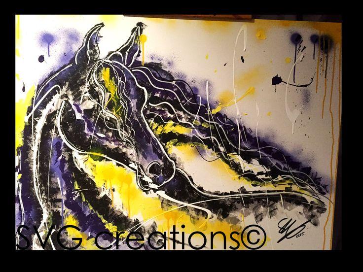 Cheval peinture abstraite moderne sur toile acrylique 30 x 40 / Horse abstract painting modern acrylic on canvas 30 x 40 de la boutique SVGCreations13 sur Etsy