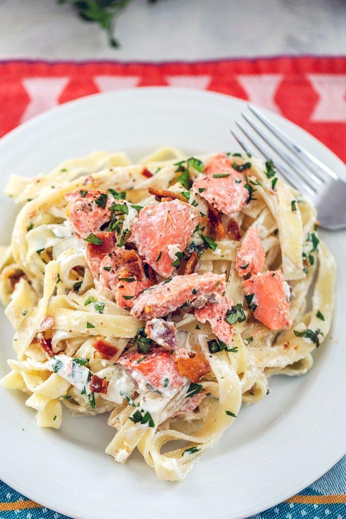Salmon Fettuccine With Sour Cream Caesar Sauce Recipe Salmon Pasta Recipes Creamy Salmon Pasta Making Pasta Sauce
