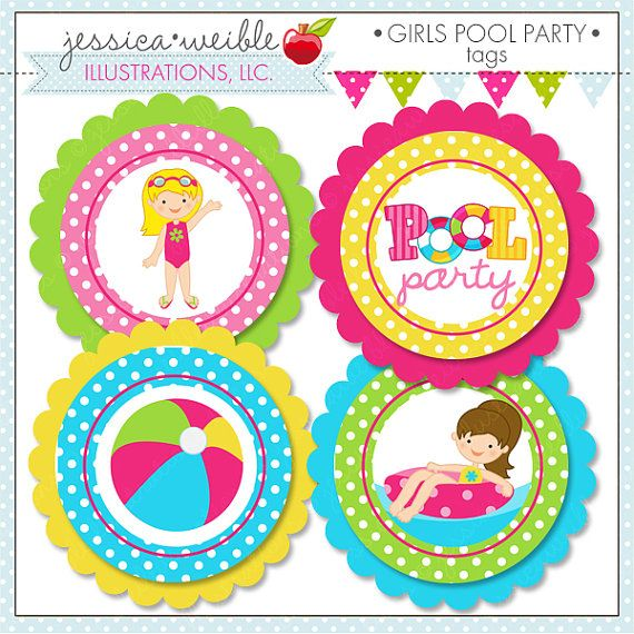 Girls Pool Party Theme - Printable Party Tags - Cupake Toppers - Printable Party Favors - Swimming Party Printables