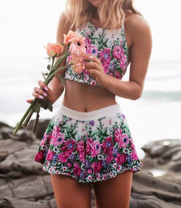 Skirt: dress floral short floral white mini pattern colorful flowers colorful matching top crop tops