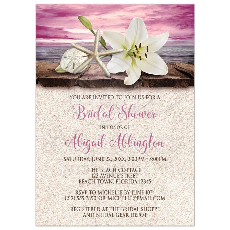 recipe themed bridal shower invitation wording%0A Bridal Shower Invitations  Beach Lily Seashells and Sand Magenta