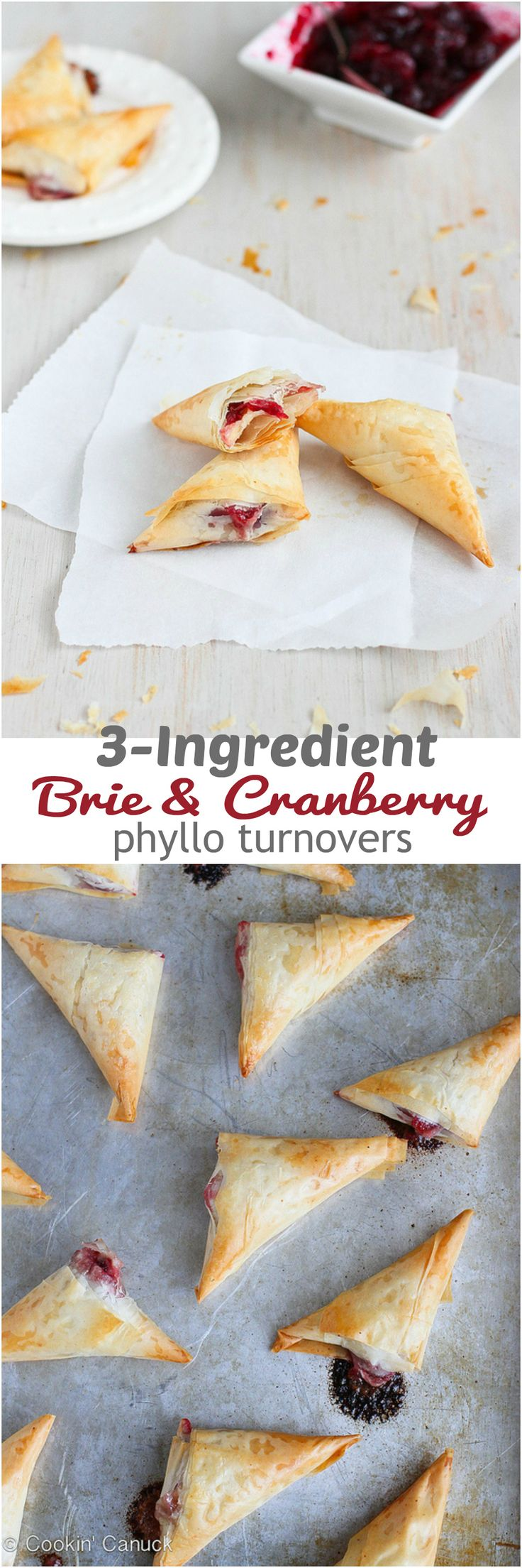 3-Ingredient Brie and Cranberry Phyllo Turnovers Recipe...58 calories and 2 Weight Watchers PP | cookincanuck.com #appetizer