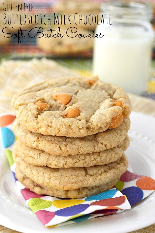 Soft and chewy gluten free cookies with smooth milk chocolate chips and a handful of sweet butterscotch morsels using Gluten Free Flour.
