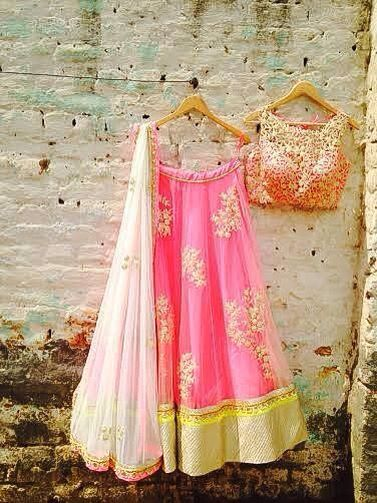 Amrita Thakur Pop Pink & Yellow Gota Floral Embroidered #Lehenga.