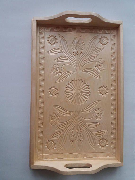 Nueva bandeja de madera tallada a mano natural arce media, bandeja, placa decorativa, decoración del hogar, que sirve el plato, bandeja única, regalo para mujer, niñas, rústico