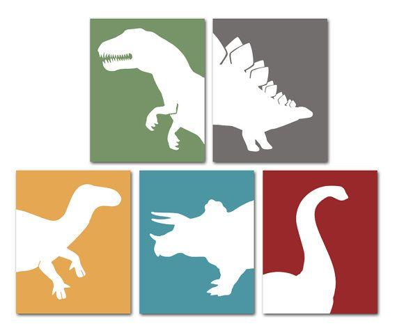 Dinosaur Art, Dinosaur Nursery, Childrens Art, Nursery Art, Pick 3, TRex, Triceratops, Stegosaurus, Apatosaurus & Iguanodon