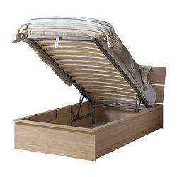 IKEA - HERDLA, Struttura letto con contenitore, , Sotto la base a doghe, che si può sollevare, si nasconde un pratico contenitore.