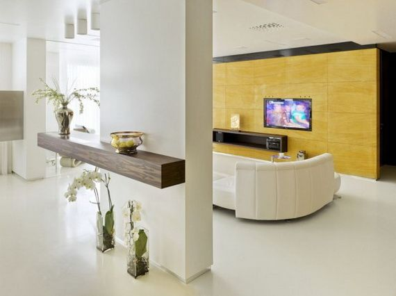 Apartment: Simple Apartment Decoration With White Wall Color And White Modern Sofa And Tv Wall Unit Also Flat Screen Television: Pure Simple Apartment Decorating Ideas
