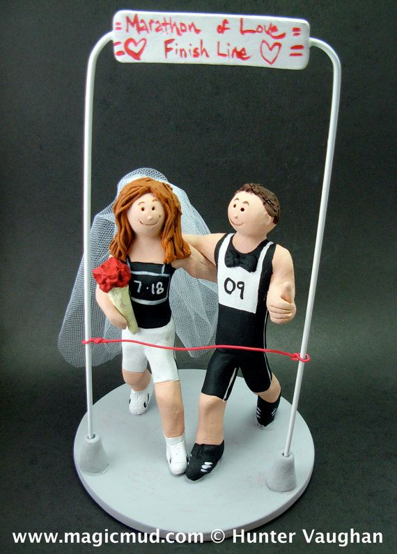 Wedding Cake Topper for Joggers    Marathon Runner's Wedding Cake Topper custom created for you! Perfect for marriage of a Marathon Running Groom and his Bride!    $235   #magicmud   1 800 231 9814   www.magicmud.com