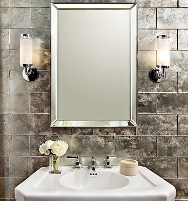"""lucian metallics6"""" x 12"""" field in pewter with KALLISTA For Town by Michael S Smith mirror, pedestal, basin set and lever handles (photographer: Blackstone Photography)"""