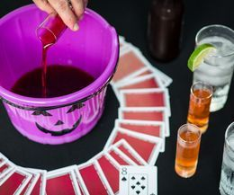 fill the pumpkin halloween party drinking game...like kings . one of the cards has the penalty of drinking from the pumpkin which has a bit of everyone's drink in it!