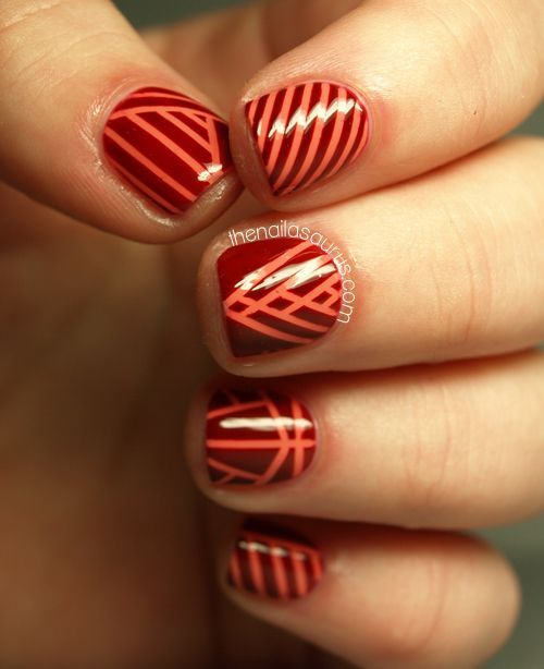 Striping Tape Nail Art Tutorial: 167 Best Red Nails Images On Pinterest