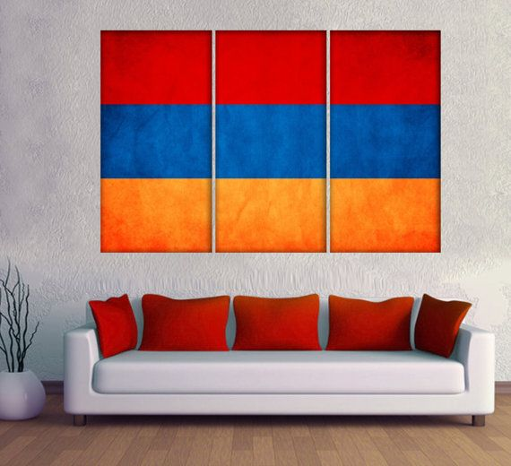 "3 Panel Split Armenian Flag Canvas Print, 1.5"" deep frames.Triptych, art for home wall decor & interior design. Great for Holiday gift"