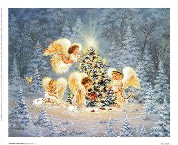 AngelsSilent Night, Dona Gelsinger, Christmas Art, Art Prints, Christmas Angels, Gentle Lights, Christmas Trees, Merry Christmas, Gel Art