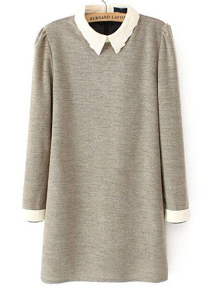 Khaki Embroidered Collar Long Sleeve Dress - Sheinside.com