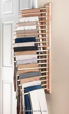 Buena manera de organizar los pantalones, incluso para poner en el closet.