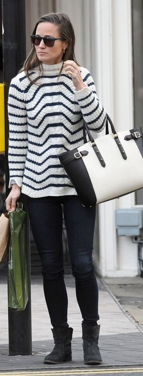 Pippa Middleton: Sunglasses – Carrera  Sweater – Zara  Purse – Aspinal of London  Shoes – Seven Boot