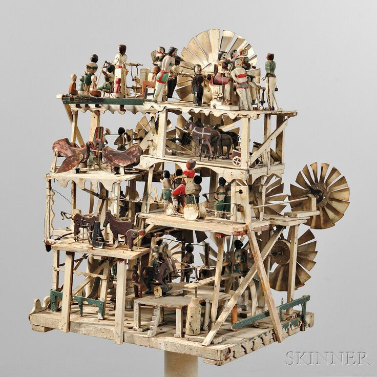 Large Carved White-painted and Polychrome Decorated Four-tier Whirligig