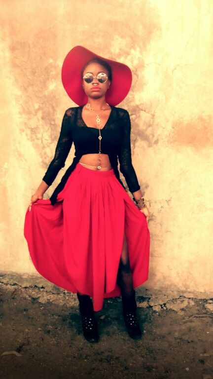 Gold hat red skirt