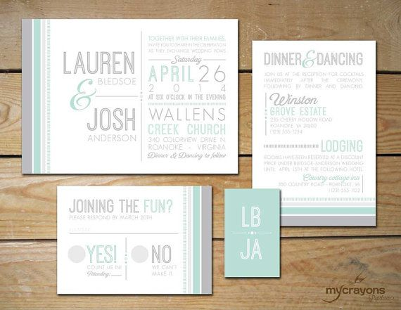 Mint Modern Striped Wedding Invitation Set by MyCrayonsPapeterie // Mint Green and Gray, Grey
