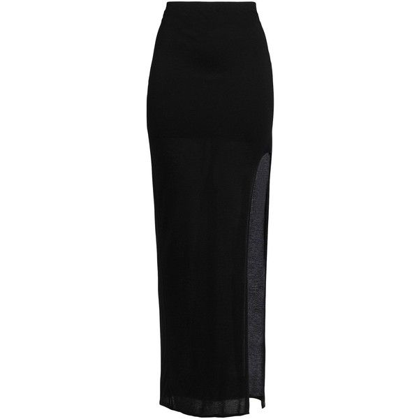 Helmut Lang Long Skirt ($205) ❤ liked on Polyvore featuring skirts, black, helmut lang skirt, ankle length skirt, jersey skirt, long skirts and maxi skirt jersey