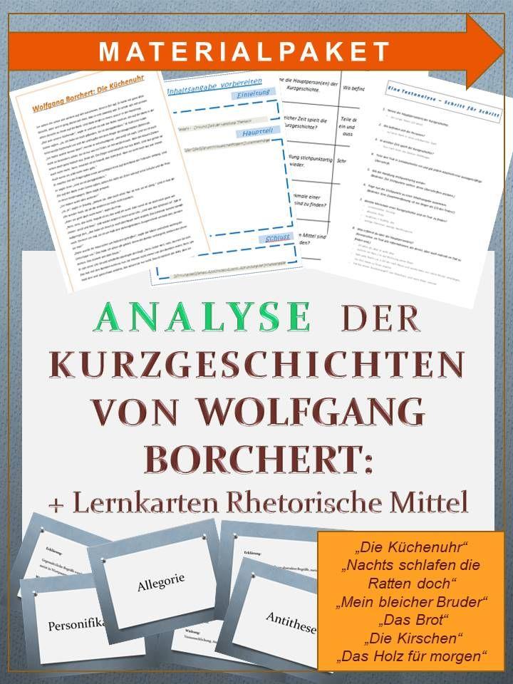 Kurzgeschichten Von Wolfgang Borchert Textanalyse Und Stilmittel Lernkarten Unterrichtsmaterial Im Fach Deutsch In 2020 Lernkarten Kurzgeschichten Lernen