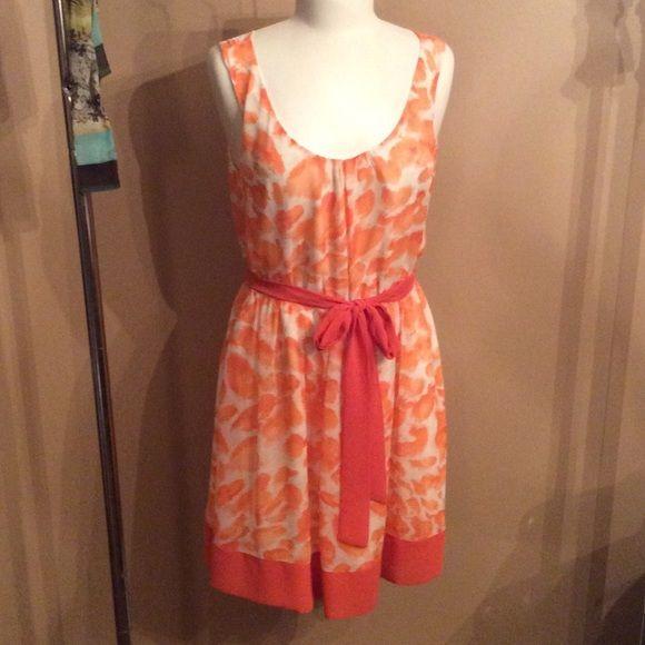 DRESS SALE  Elle dress Elle orange and white dress with tie waist size small- only worn 1 time!! Elle Dresses Midi