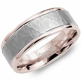 10K Rose and White Gold Hammered Wedding Band