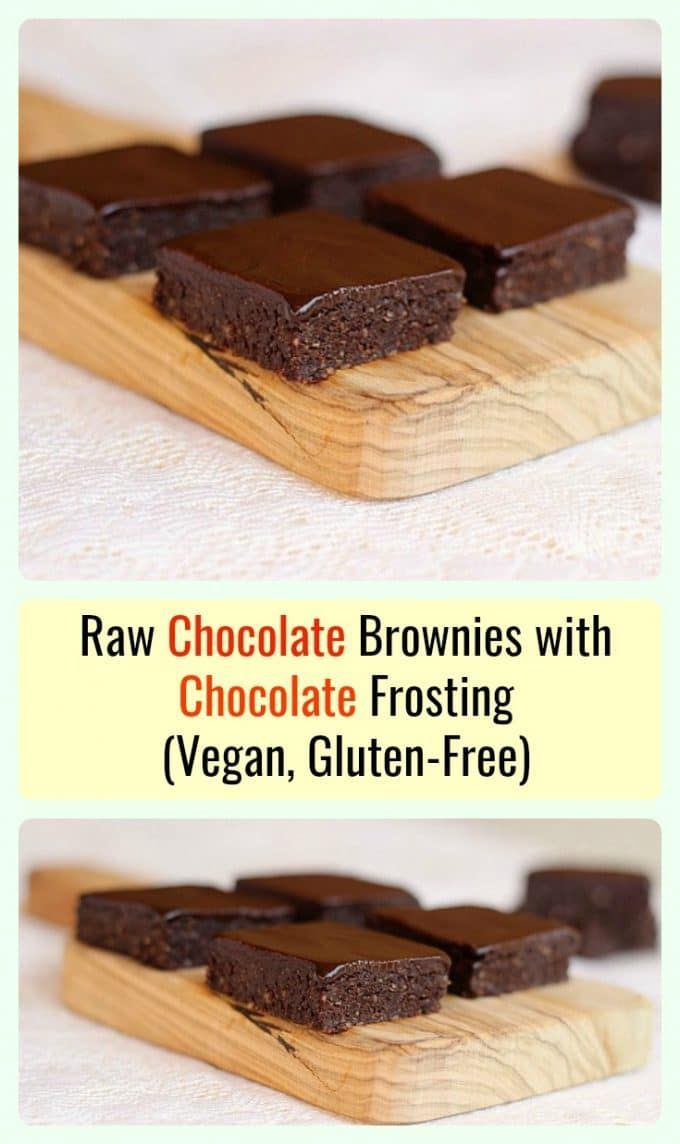 Raw Fudge Brownies with Chocolate Frosting - A delicious treat that requires NO bake time. Vegan-friendly, gluten-free.