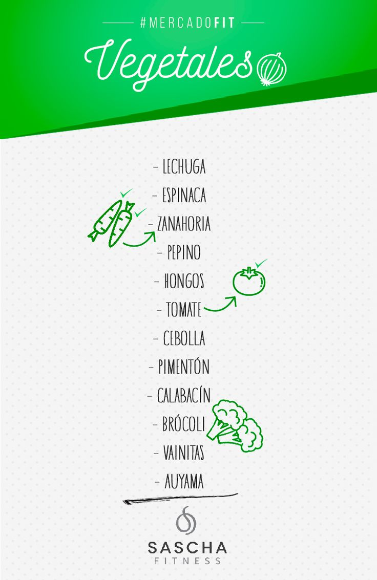 Lista de mercado fit Vegetales - www.saschafitness.com
