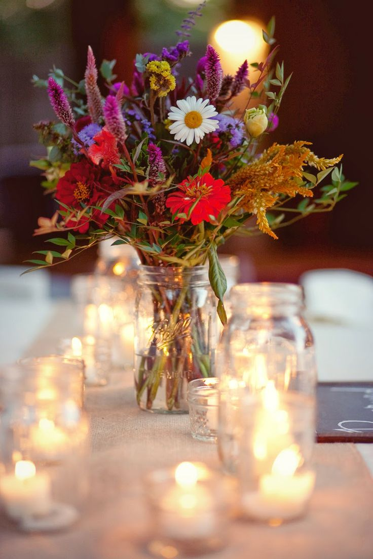 pictures of wedding centerpieces using mason jars%0A Wildflowers Mason Jar   Candleslove it