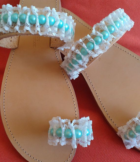 Leather sandals with lace and pearls handmade by ZoiO on Etsy