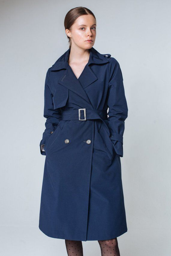 Trendy Womens Autumn Coats For Cool, Navy Trench Coat Ladies