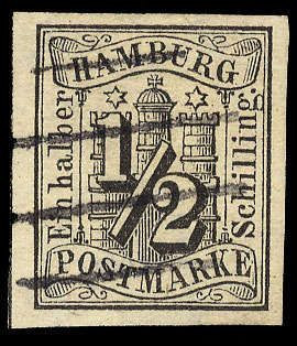 Old German States Hamburg, Michel 1, Scott 1. 1859 1/2s black, large margins all around, v.f. used, signed Richter, Thier etc. (Mi.1) (Catalog value €750)