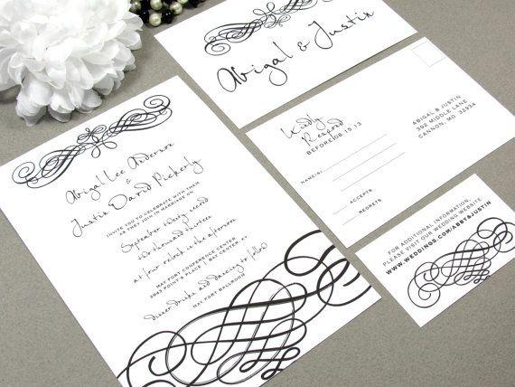 Modern Handwritten Elegance Wedding Invitation Set By RunkPock Designs :  Calligraphy Script Swirl Invitation Suite Shown