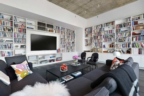 Living Room White Library wall sofa cushions gray books TV
