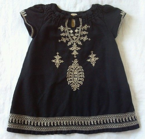 Baby GAP boho black linen dress with tan embroidery