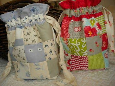 "Sew Patchwork Drawstring Gift Bags - Free Sewing Tutorial by  Sherri from ""A Quilting Life"""