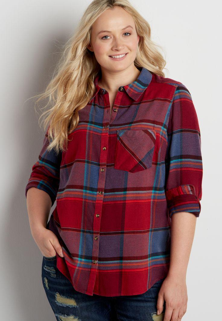 f57fb6a906f plus size button down multicolor plaid shirt (original price