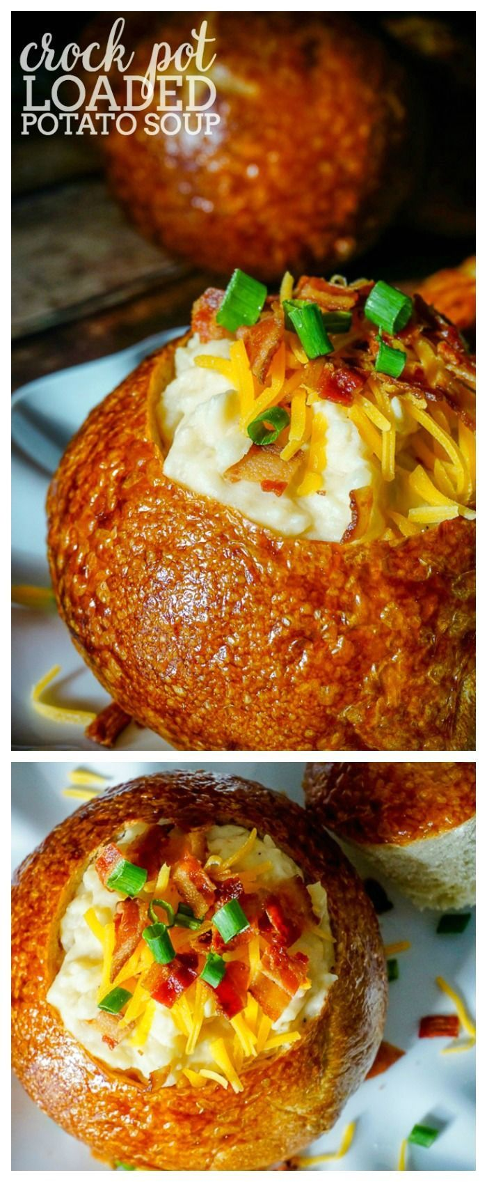 CROCK POT LOADED POTATO SOUP RECIPE - Make dinner time easier with a hearty, cheesy slow cooker version of this classic soup!