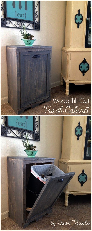 diy wood tilt out trash can cabinet bydawnnicole com diy home rh pinterest com