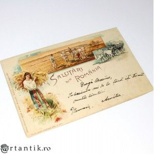 carte postala - anul 1900 - Salutari din Romania - circulata local Galati