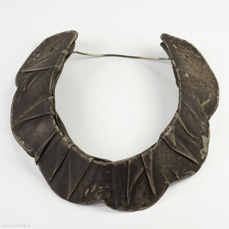 Jessica Winchcombe - necklace / object PROTECT 6 , brown distressed leather, aluminium, silver - New Zealand, Porirua, Whitireia Polytechnic