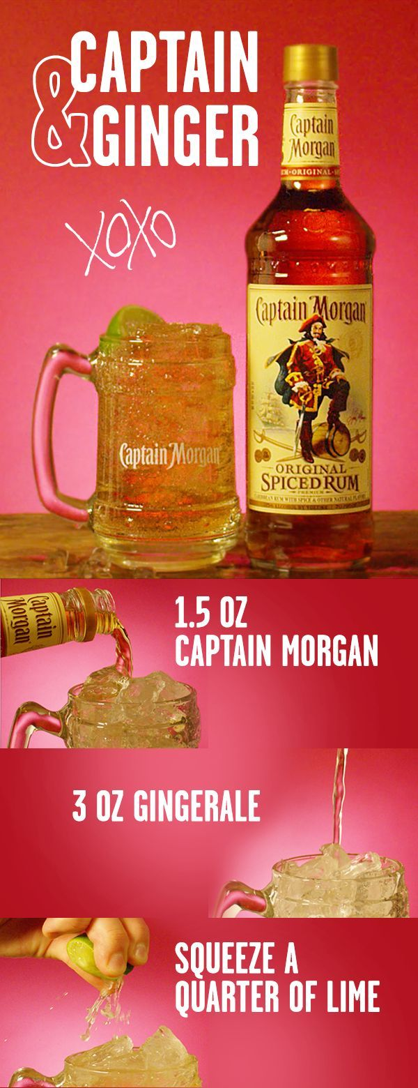 The recipe for love is simple. 1 part Captain. 2 parts ginger. This Valentine's Day, mix up a sweet cocktail for you and yours. Combine 1 part Captain Morgan Original Spiced Rum and 2 parts Ginger in glass over ice. Garnish with lime wedge, and celebrate Cupid's big day. 1 part = 1.5 oz, for those keeping score at home.
