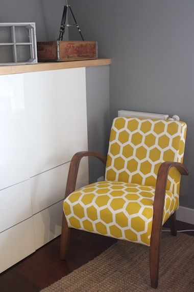 Before & After: Ainhoa's Stenciled Upholstery IKEA Armchair | Apartment Therapy