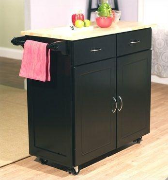 $189 New Large Kitchen Island Cart Rolling Wheels Storage Cabinets Furniture Wood Top | eBay