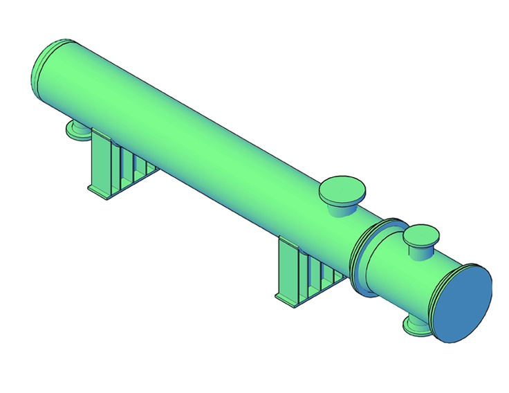 Here's a 3D Model I did in my online CADWorx Class ( horizontal pressure vessel)